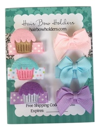 Infant Hair Pretties - Set of 6 - Cupcakes and Bows - Pastel Colors