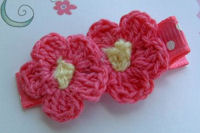 DOUBLE Crochet Flower Hair Clip - Hot Pink Yellow Center on Dots