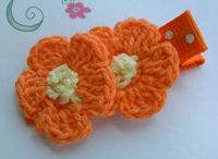 DOUBLE Crochet Flower Hair Clip - Orange Yellow Center on Dots