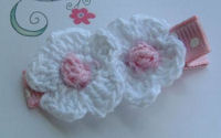 DOUBLE Crochet Flower Hair Clip - White Pink Center on Dots