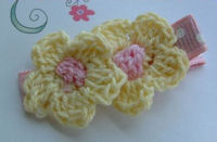 DOUBLE Crochet Flower Hair Clip - Yellow Pink Center on Dots