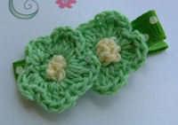 DOUBLE Crochet Flower Hair Clip - Green Yellow Center on Dots