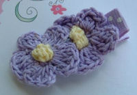 DOUBLE Crochet Flower Hair Clip - Purple Yellow Center on Dots