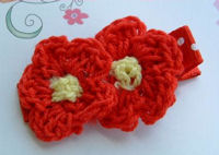 DOUBLE Crochet Flower Hair Clip - Red Yellow Center on Dots