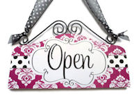 VIP - OPEN & CLOSED - Dots n Damask - Fuschia & Black