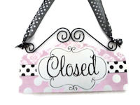 OPEN & CLOSED - Dots n Damask - Light PInk & Black