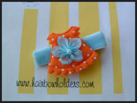 Dress - Orange with Flower on Blue Velvet