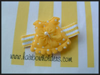 Dress - Yellow with Flower on Stripes