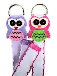 Owl Simple Bow Holder GIFT SET of 2 - Lavender and Pink