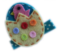 FELT CLIP - Easter Egg Chickie - Turquoise and Yellow