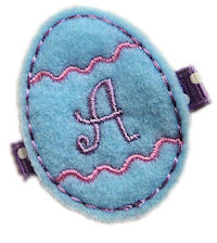 Inventory Sale - FELT CLIP - Easter Egg - Blue Monogram