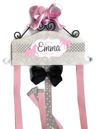 Emma Collection - Horses - Damask and Dots - Gray and Pink (pink bow)