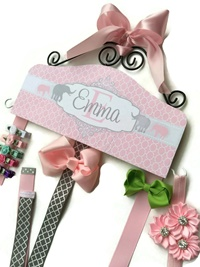 Hair Bow Holder - Elephants - Pink and Gray