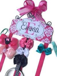Hair Bow Holder - Damask - Dark Pink