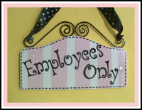 "Boutique Sign - ""Employees Only"" - Light Pink STRIPES"
