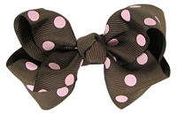 Basic Bows - Everyday Brown n Pink Dots