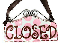 Boutique Sign - OPEN & CLOSED Pink & Chocolate Brown DOTS