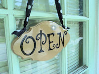 Boutique Sign - French Pro Style - OPEN & CLOSED Mocha with Black Writing