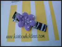 Felt Flower - Purple on Zebra