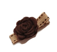 Felt Mums Hair Clip - Brown on Tan Stitch