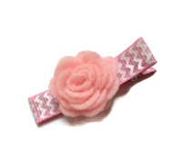 Felt Mums Hair Clip - Pink on Pink Chevron