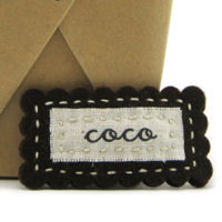 Felt Name Snap Clip - Chocolate Brown