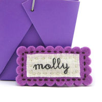Felt Name Snap Clip - Hot Purple