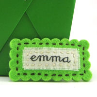 Felt Name Snap Clip - Lime Green