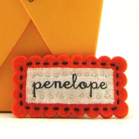Felt Name Snap Clip - Orange
