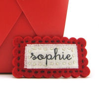 Felt Name Snap Clip - Red