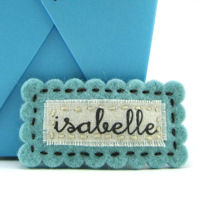Felt Name Snap Clip - Robins Egg Blue