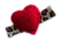 FELT CLIP - Puffy Heart Red on Cheetah