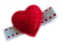 FELT CLIP - Puffy Heart Red on Stitch