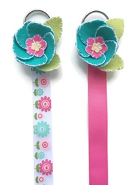 Felt Flower Hair Bow Holders - Teal Flower - Select a Color