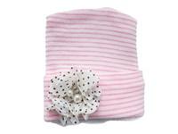 NEWBORN CAP - Flower - Mocha Polka Dots