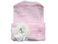 NEWBORN CAP - Flower - Off White