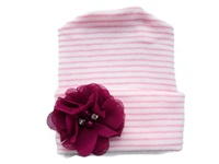 NEWBORN CAP - Flower - Raspberry