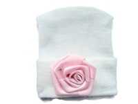 NEWBORN CAP - Silk Rose White Hat