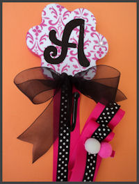 Flower Hook - Pink DAMASK & Black