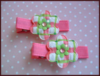 Gingham Pair - Pink Green and Bling!