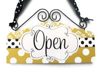 VIP - OPEN & CLOSED - Dots n Damask - Mustard Gold & Black