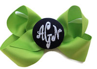 Basic Bows - 3 LETTER MONOGRAM - Pretty Green and Navy