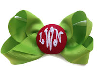 Basic Bows - 3 LETTER MONOGRAM - Pretty Green and Red