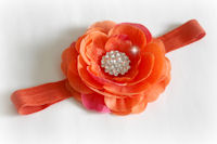 KC - Headband - Organza Flower - Orange