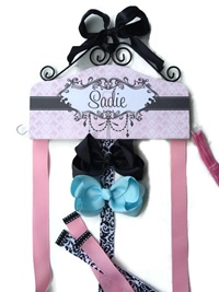 Hair Bow Holder - Damask - Pink and Black