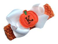 Headband + Hair Bow Set - Halloween Monogrammed Pumpkin