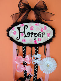 HeadBand + Bows Holder - Harper - with swirls