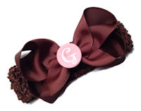 A Monogrammed Bow + Headband Kit - Brown with Pink Center