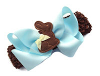 Chocolate Bunny Bow + Headband Kit - Blue with Brown Bunny Center