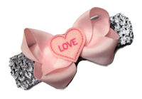 Pink Love Heart Bow + Headband Kit - Pink with Pink Felt Heart Center